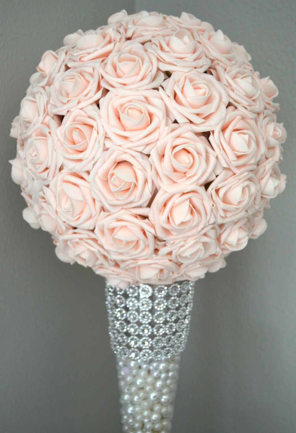 Pink Blush Kissing Ball Wedding Centerpiece Blush Flower Ball