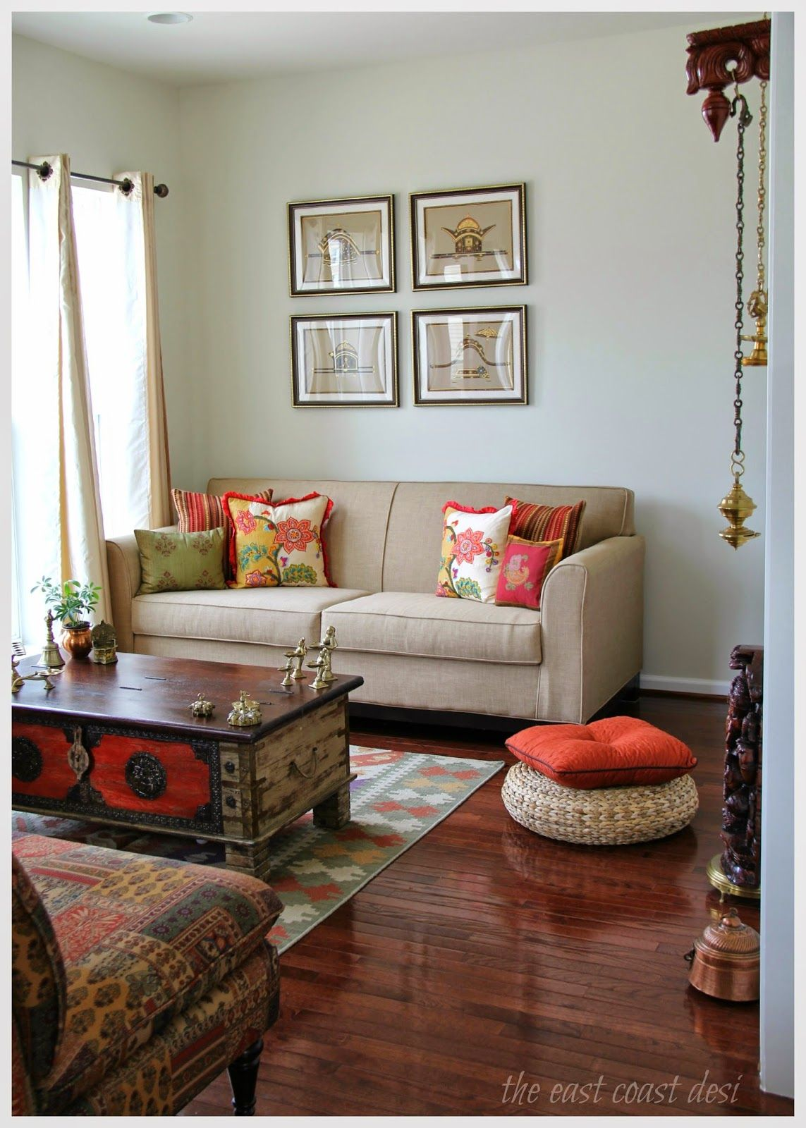 This is exactly how my drawing room will look like for Indian ethnic living room designs