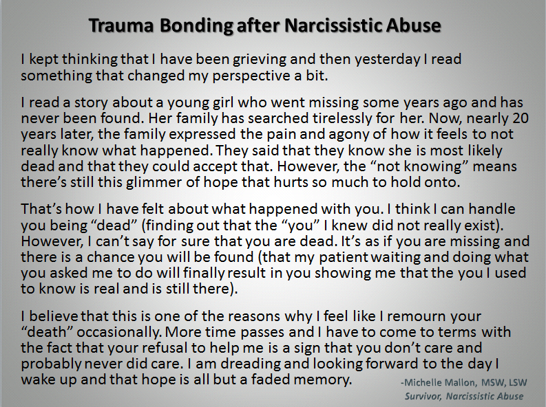 Image result for narcissist trauma bond