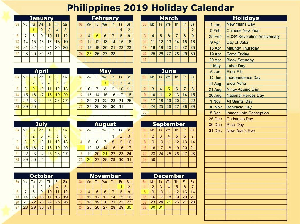 philippines 2019 calendar with holidays Printable