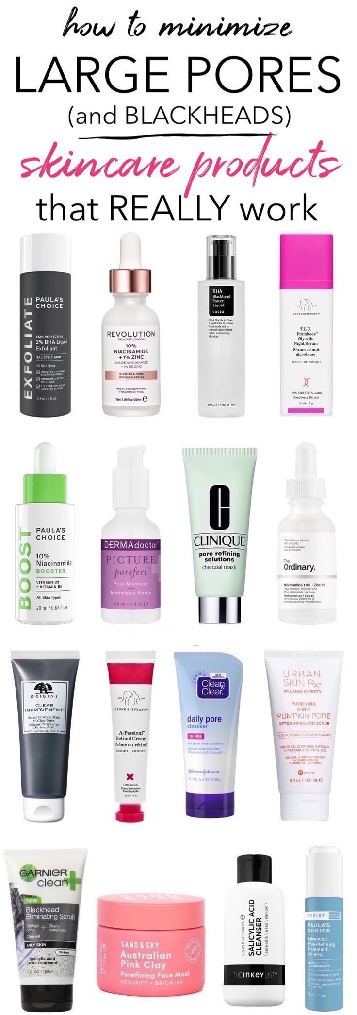 Pore Problems These Skincare Products Really Work To Reduce Large Pores And Blackheads Blackheads Large Por Skin Care Treatments Large Pores Skin Care