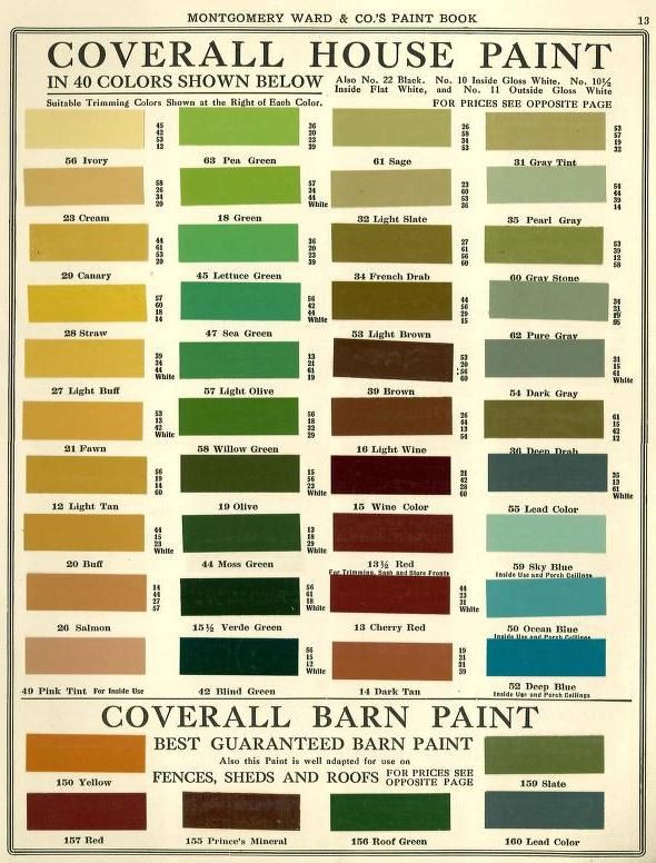 Paint Colors For House montgomery ward house paint colors 1915 | historic paint colors
