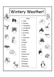 english worksheet wintery weather match classroom ideas long vowels teaching english. Black Bedroom Furniture Sets. Home Design Ideas