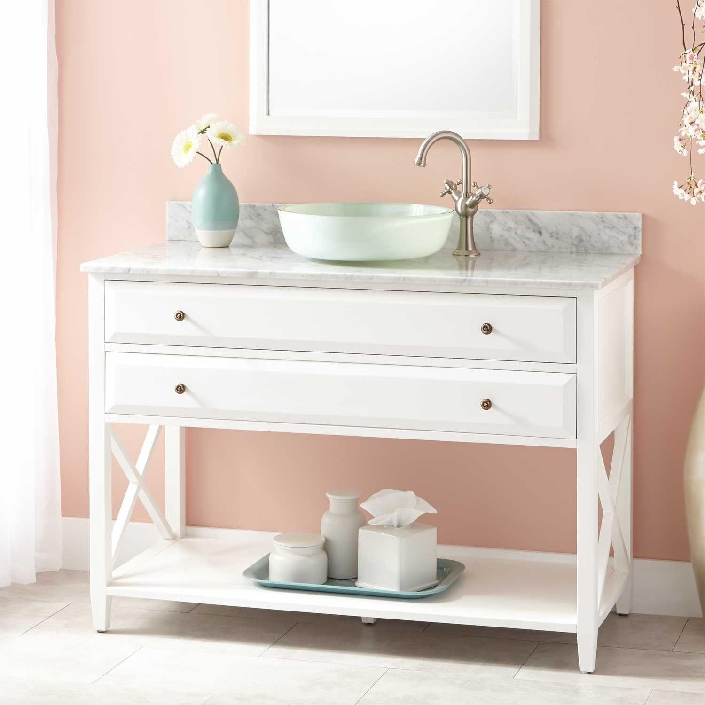 "Bathroom Vanities Youngstown Ohio 48"" glympton vanity cabinet - vessel - white | beach house"