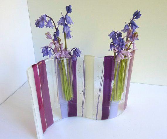 Fused Glass Wave Pocket Vase In Pink Lavender Violet And Plum