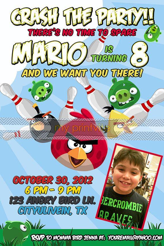 Angry Birds Birthday Bowling Party Invitation | Luke\'s 5th Birthday ...