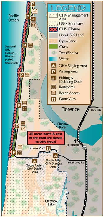 Map of South Jetty Area showing recreation opportunities