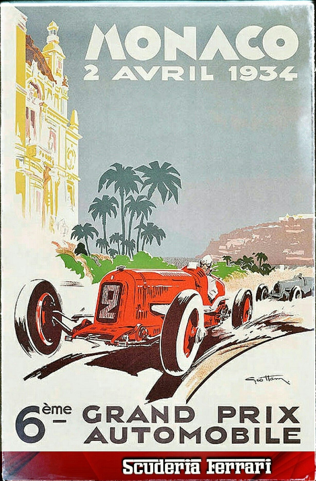"1936 vintage monaco grand prix art painting car race avril 36/"" x 24/"" poster"