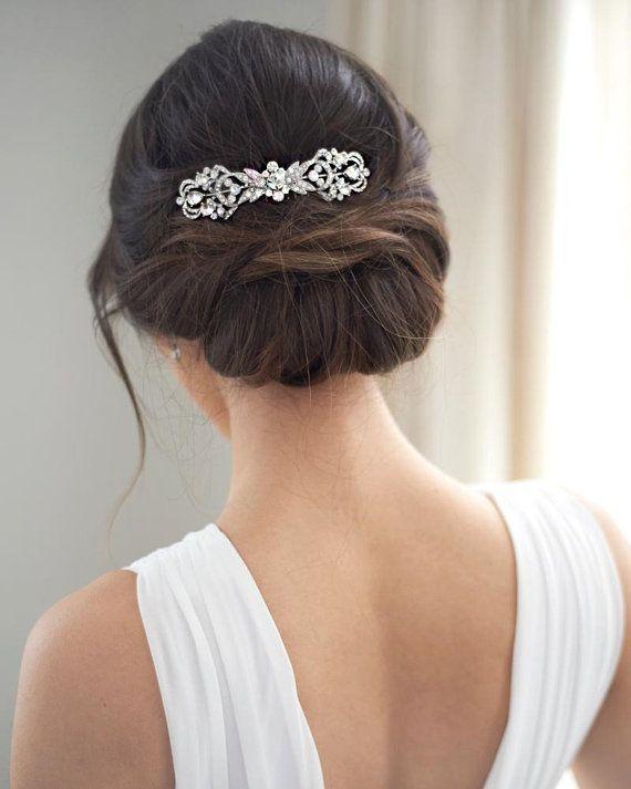 Photo of Silver Bridal Comb, Rhinestone Wedding Hair Comb, Vintage Br…