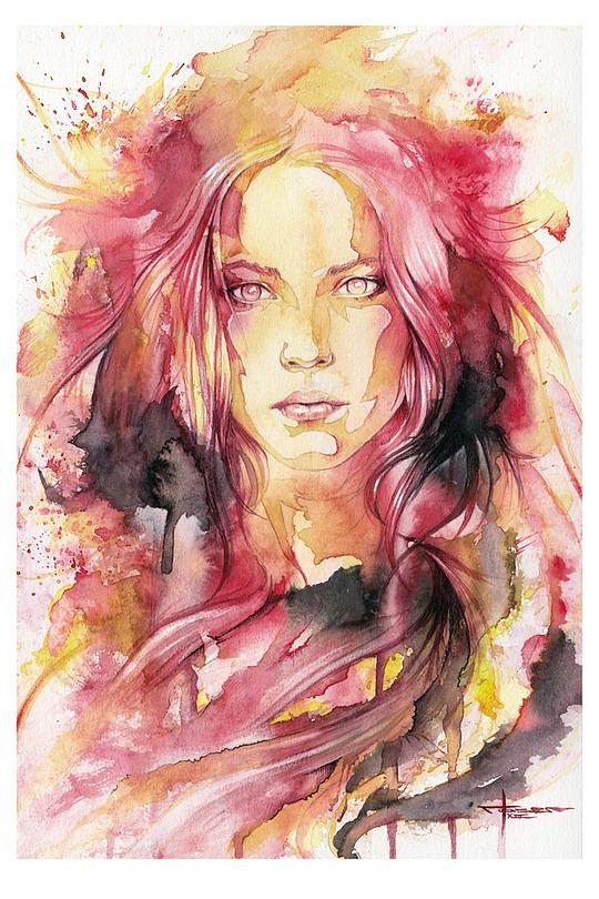 Wens eigen Watercolor Portret serieuze 'wijze'  kant van Laerke