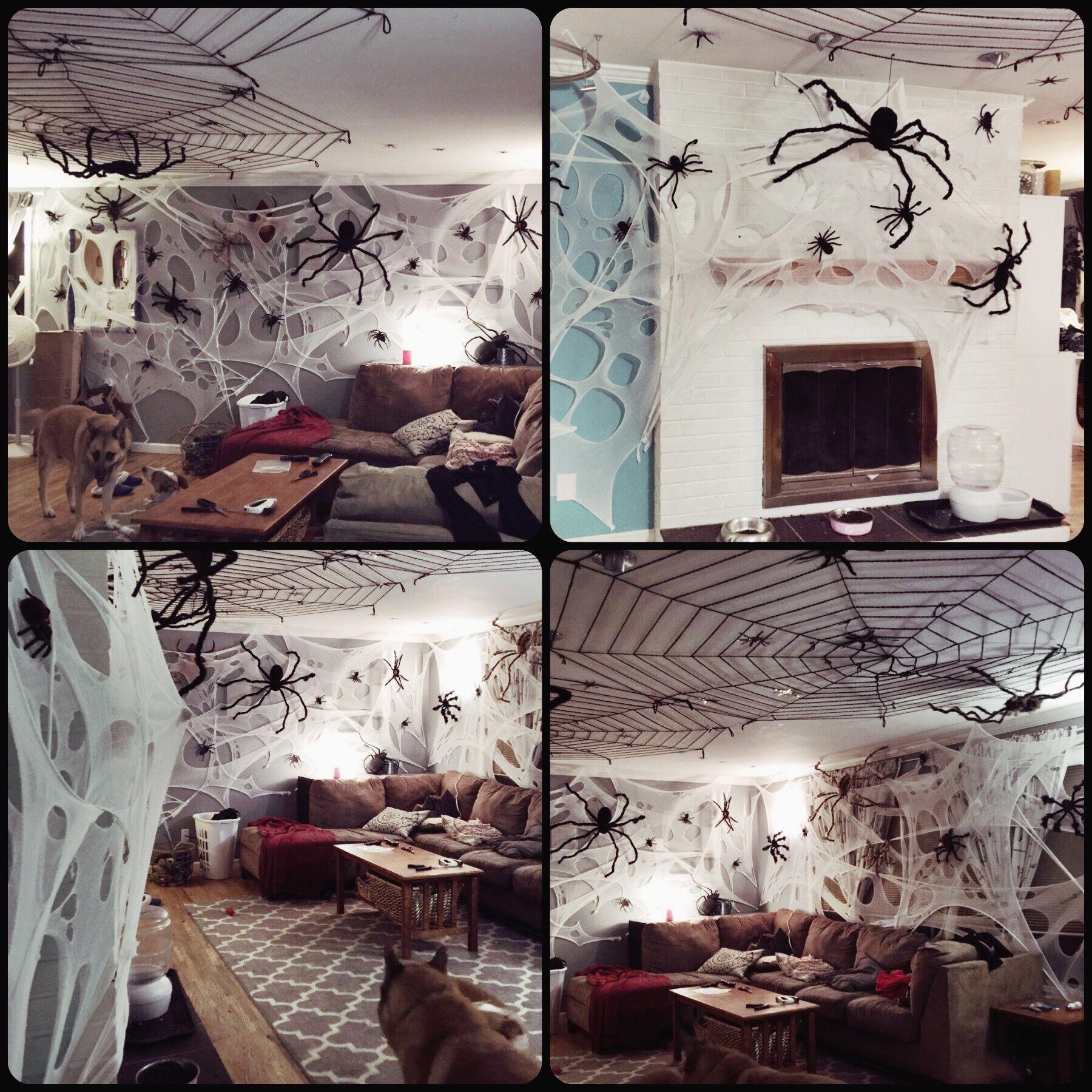 Halloween Cobwebs Spiders DIY Beef Netting Decorations Pinterest - halloween house decoration ideas