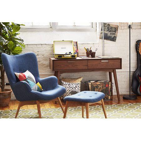 Huggy Mid Century Chair & Ottoman Set in Blue