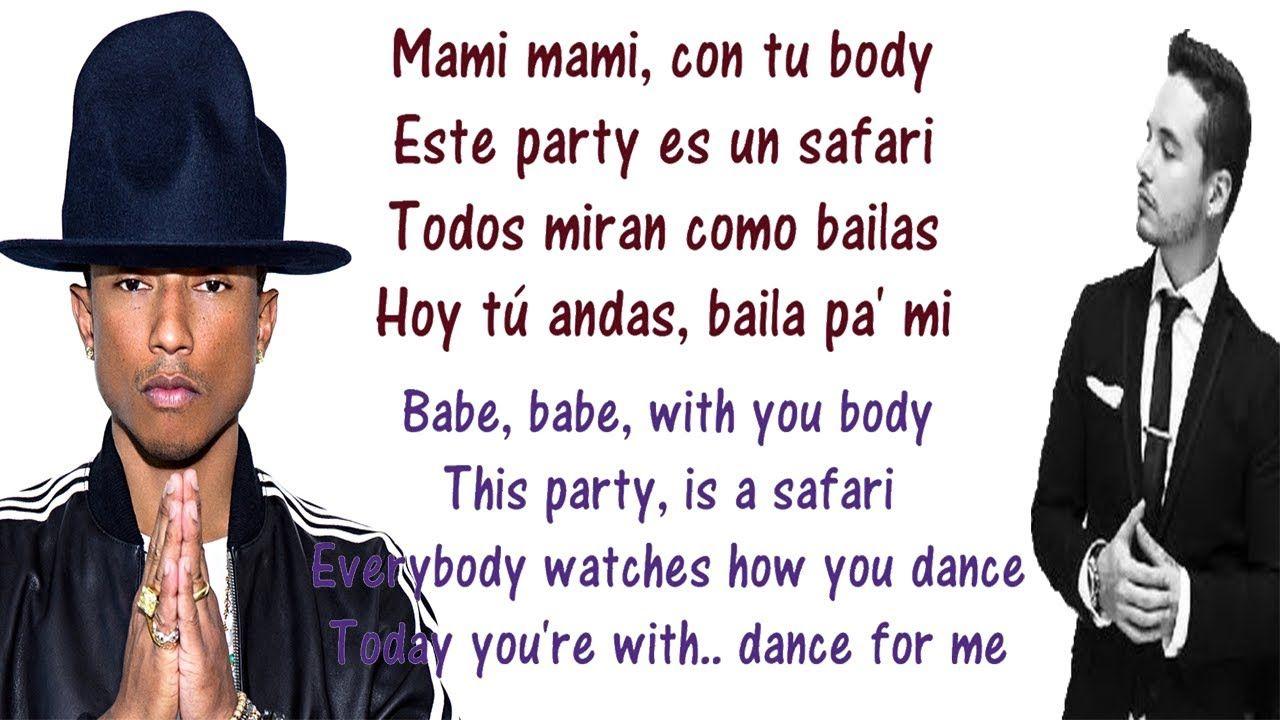 J Balvin Safari Lyrics English And Spanish Translation Meaning Ft Pharrel Williams Bia Youtube Literary Translation Lyrics Pharrell Williams
