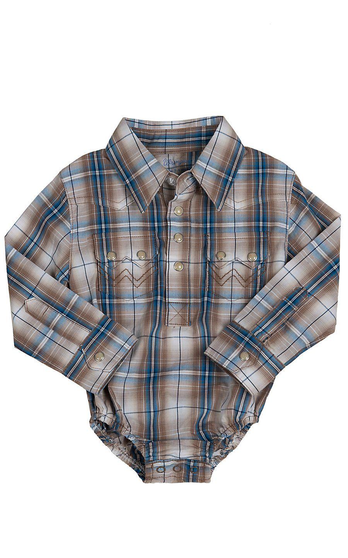 92813d2c Wrangler® All Around Baby™ Boys Brown & Blue Plaid Long Sleeve Western  Onesie