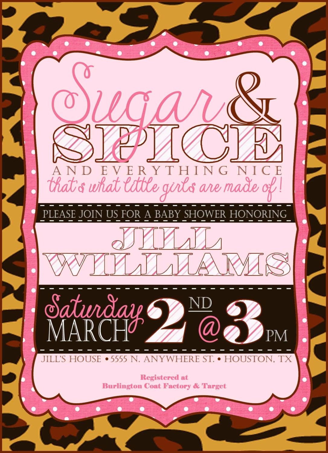 Custom Sugar and Spice Leopard Baby Shower or Birthday Invitation ...