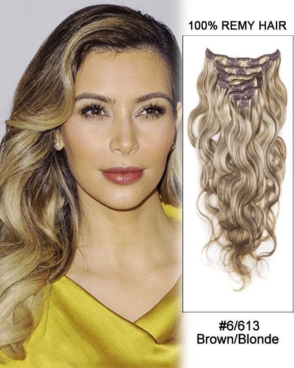 26 6613 Chestnut Brownblonde Body Wave 100 Remy Hair Clip In