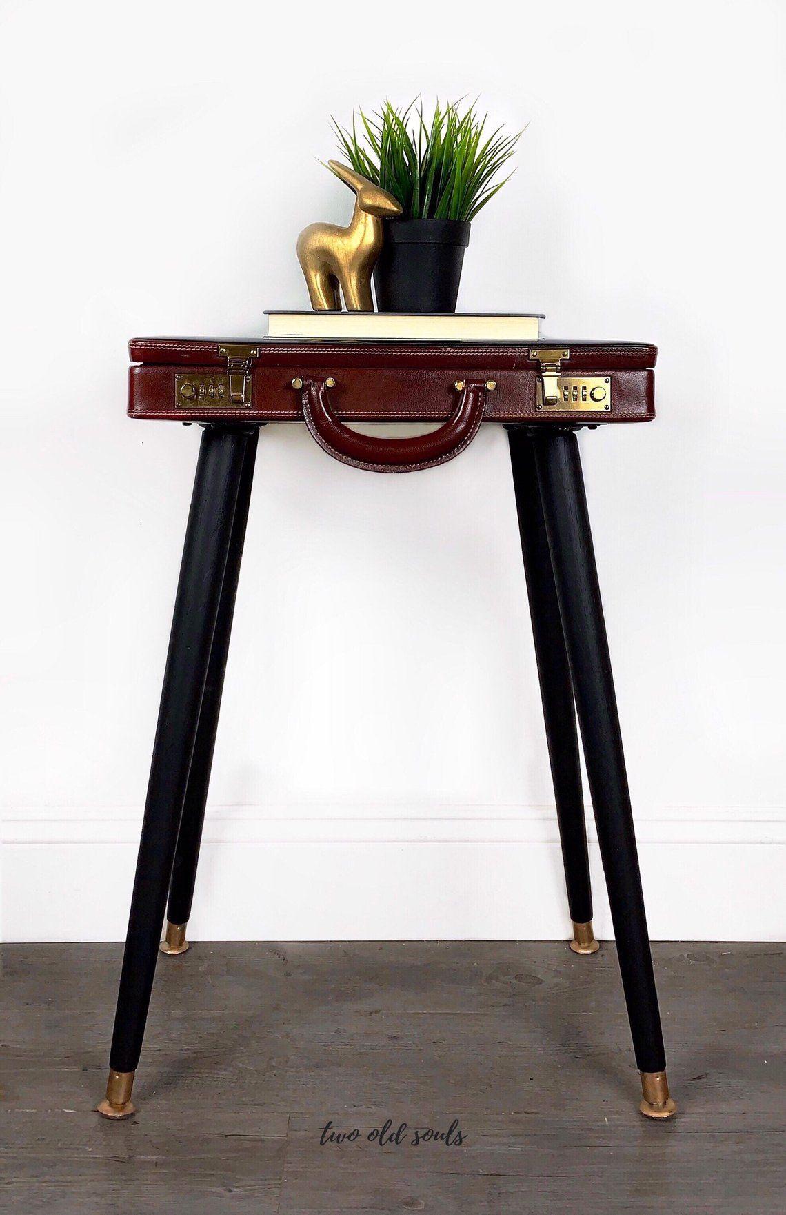 Briefcase End Table Steampunk Bedside Table Vintage