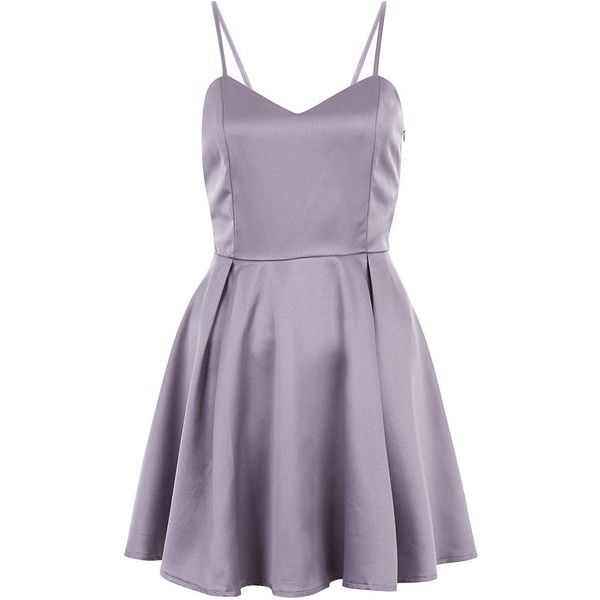Mela Grey Strappy Skater Dress (£25) ❤ liked on Polyvore featuring dresses, v neck mini dress, gray skater dress, v neck skater dress, v neck dress and skater dress