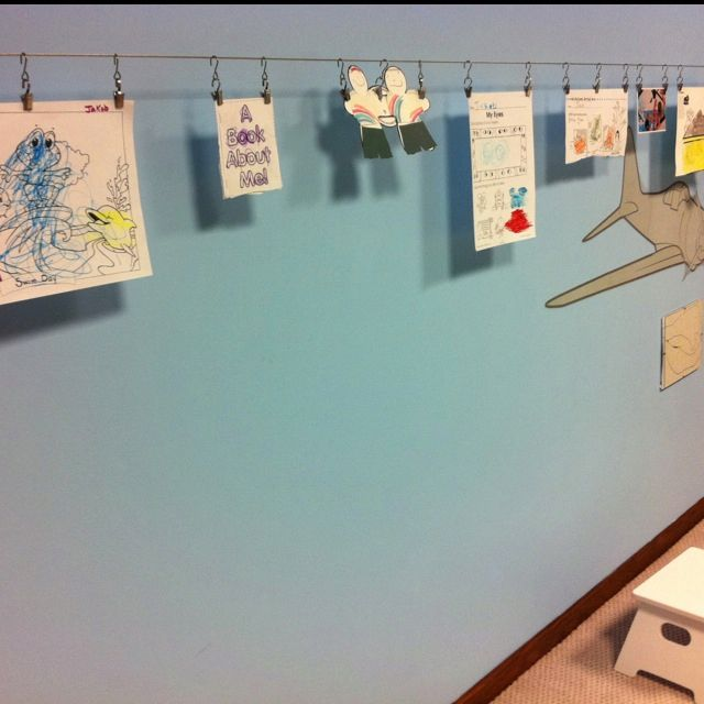 Kids\' Art on a Wire - curtain wire & clips from Ike +....for the ...