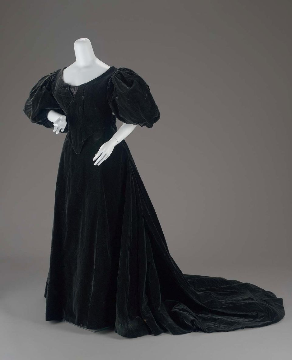 midnight blueblack velvet in two pieces dress possibly for