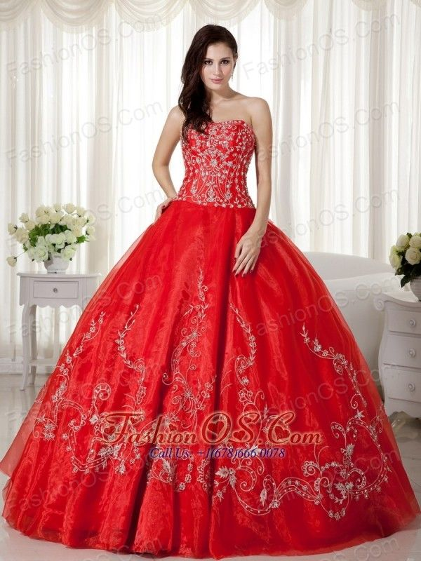 4c86d51c825 Red Ball Gown Sweetheart Floor-length Organza Beading and Embroidery  Quinceanera Dress http
