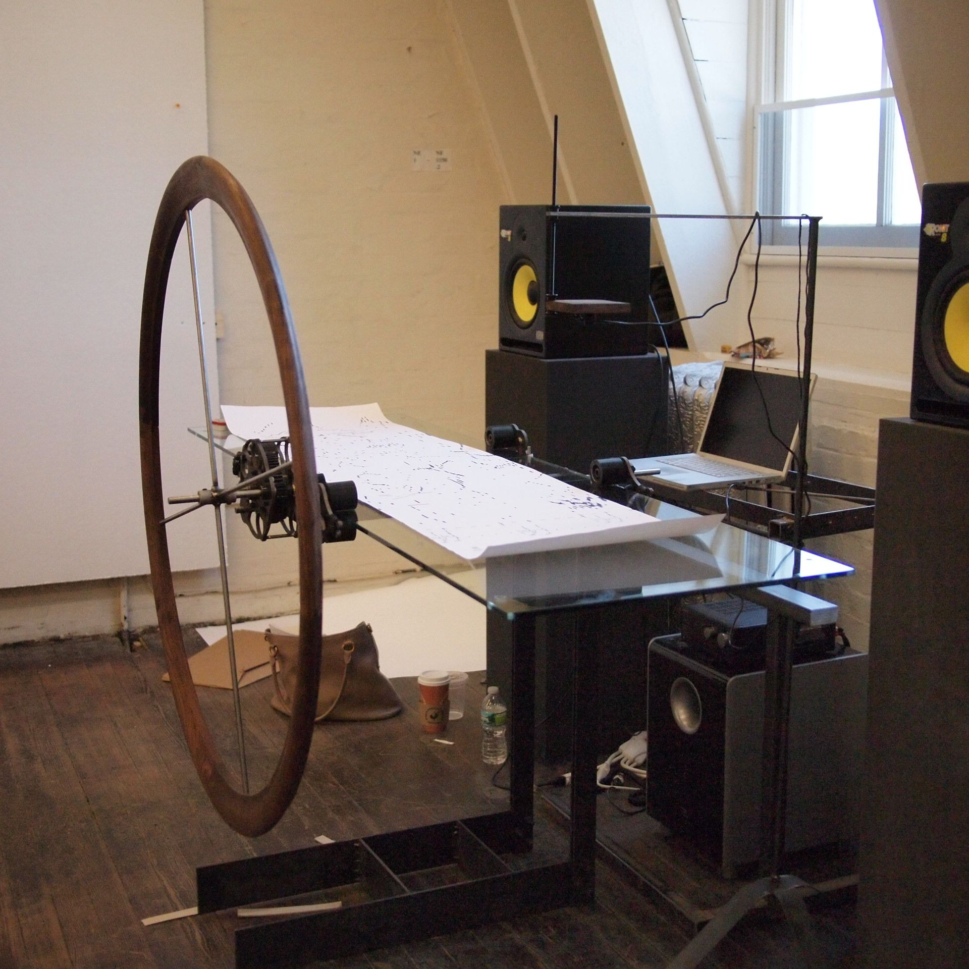 Music scanning table >> oversized walnut hand wheel