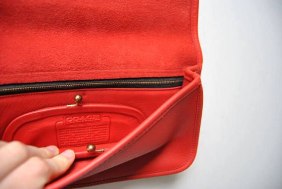 Rare Red Coach Fold Over Clutch with Kisslock Coin Purse
