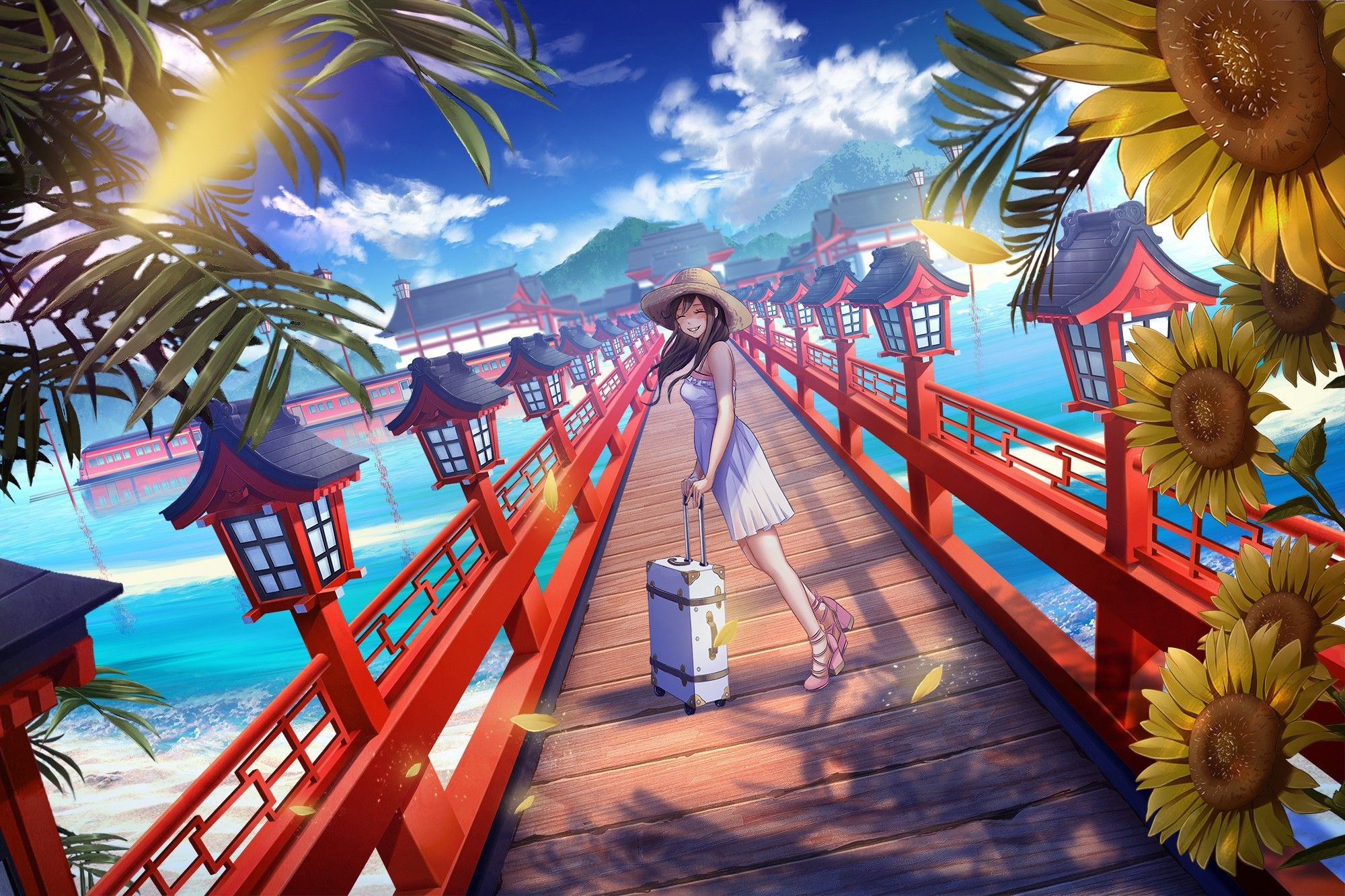 Long Hair Anime Anime Girls Beach Clouds Dress Flowers Hat Sky Sunflowers Water Wallpaper No Girasoles Temas Anime Personajes De Anime