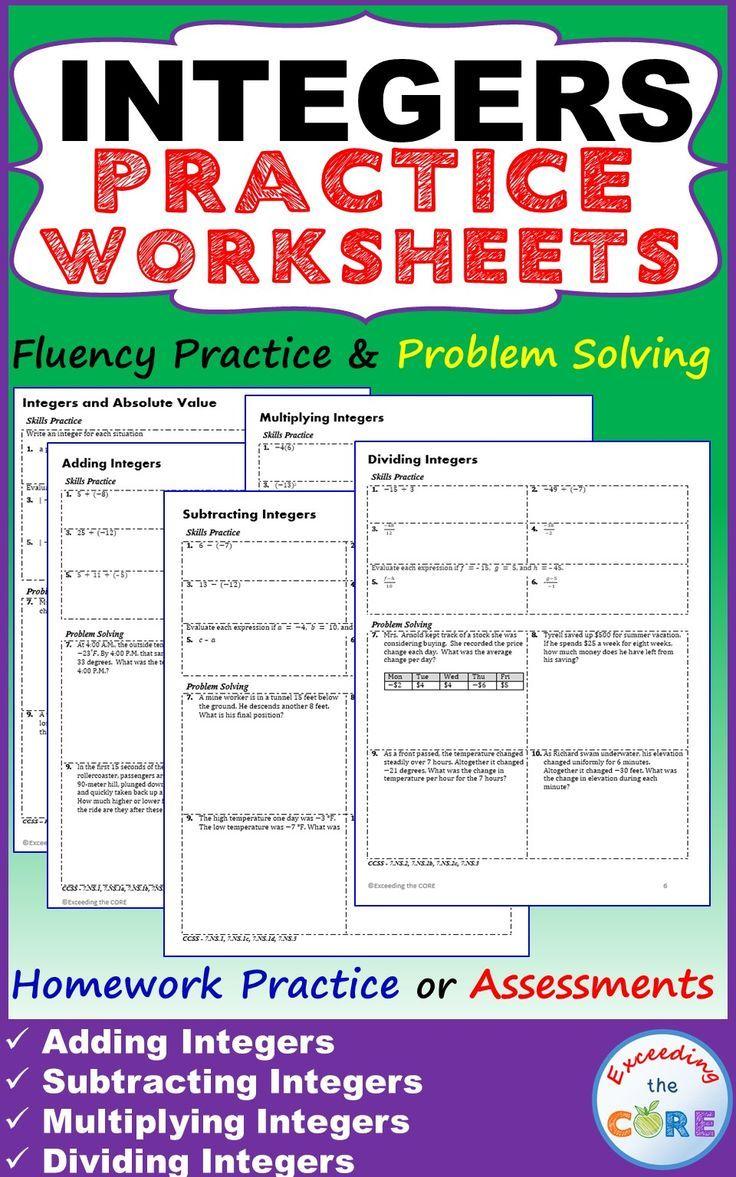 Worksheets Adding Integers Practice Worksheet integers homework practice worksheets skills with word problems 5 integer worksheets