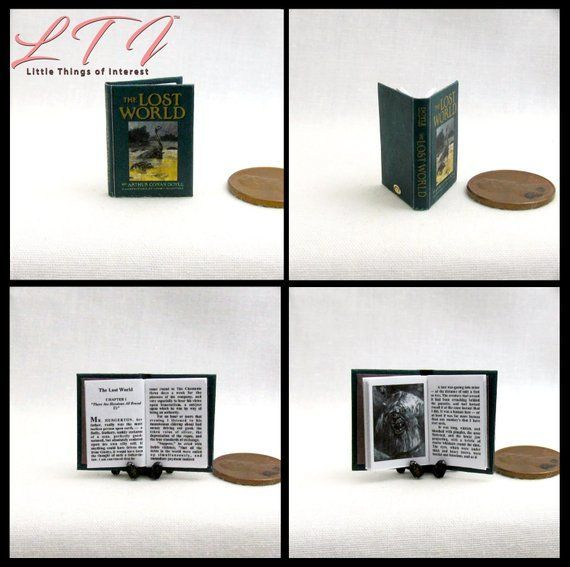 THE LOST WORLD Miniature Book Dollhouse 1:12 Scale Readable Illustrated Book Sir Arthur Conan Doyle Prehistoric Animals Dinosaurs #prehistoricanimals