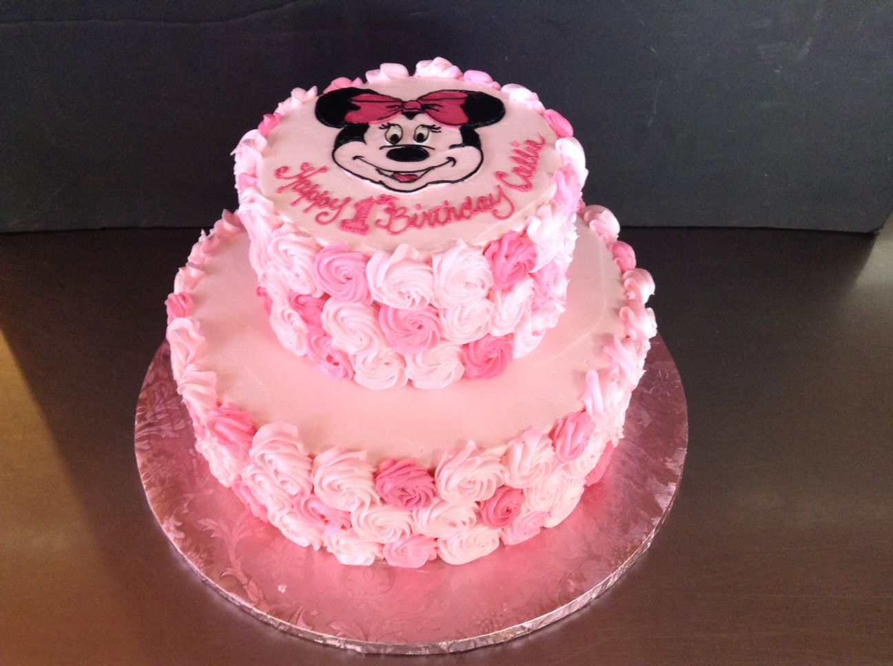 Two tier Minnie Mouse rosette cake