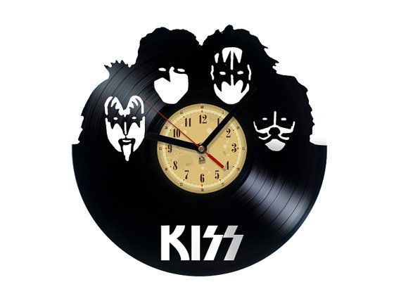 Vinyl Record Wall Clock Kiss Band Rock N Roll Vinyl