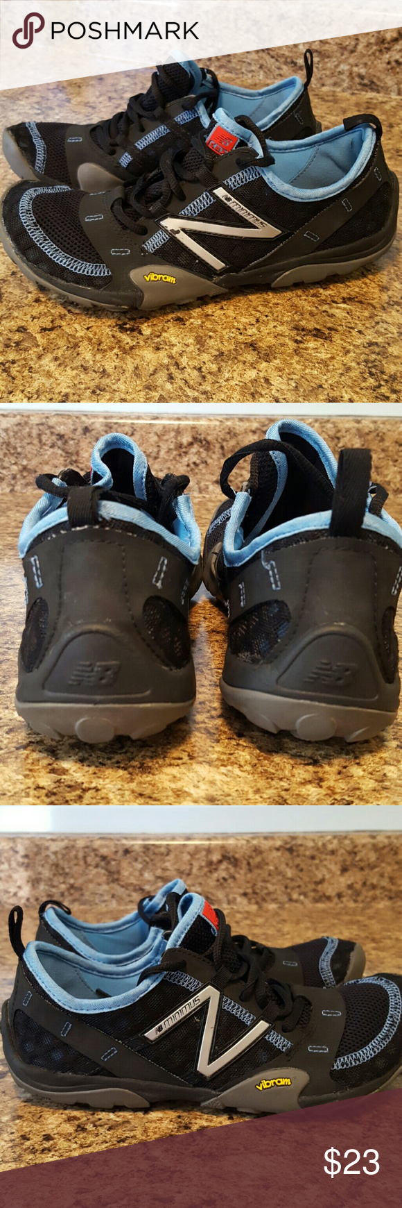New Balance Minimus Awesome condition! Black and blue Minimus with Vibram soles. Lightweight. Only worn a few times. Cool sneaks. New Balance Shoes Athletic Shoes