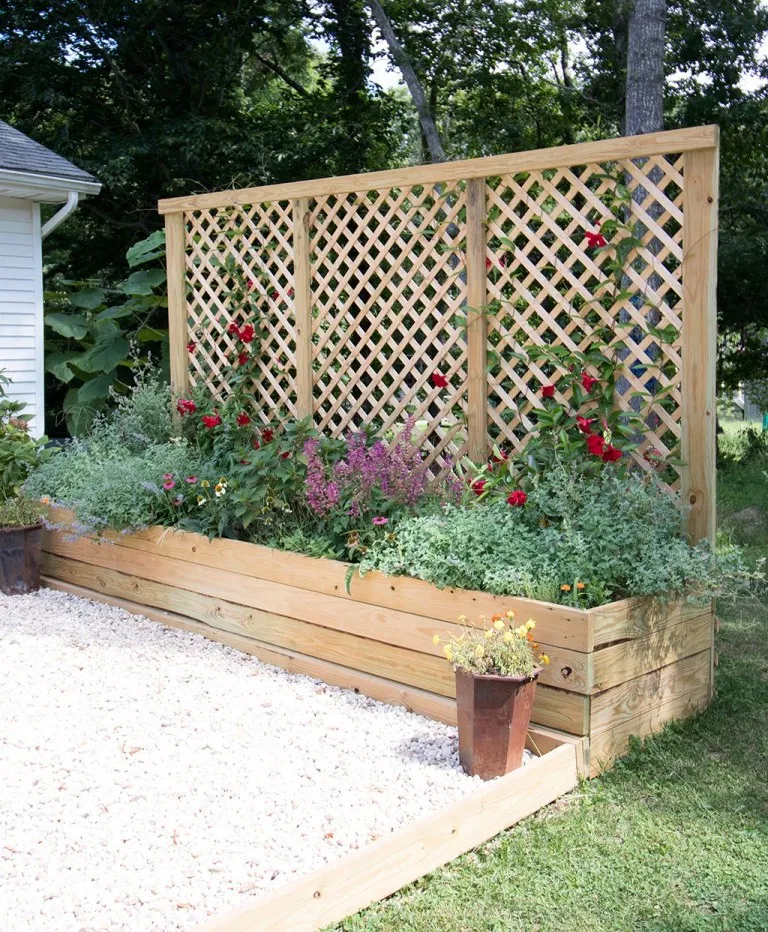Privacy Screen Planter DIY is part of Diy raised garden, Raised garden bed plans, Diy garden bed, Raised garden beds diy, Garden beds, Raised garden beds - Privacy Screen Planter DIY an inexpensive project with major impact! Create an attractive focal point and block unwanted views with this Privacy Screen Planter that can be built in a weekend