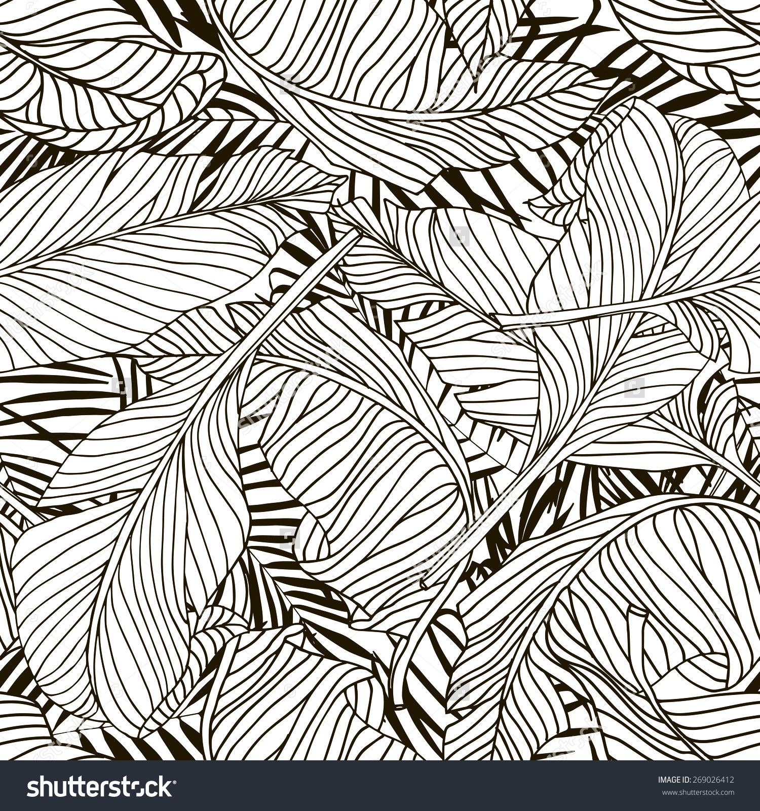 Tropical palm trees and banana leaves. Abstract background