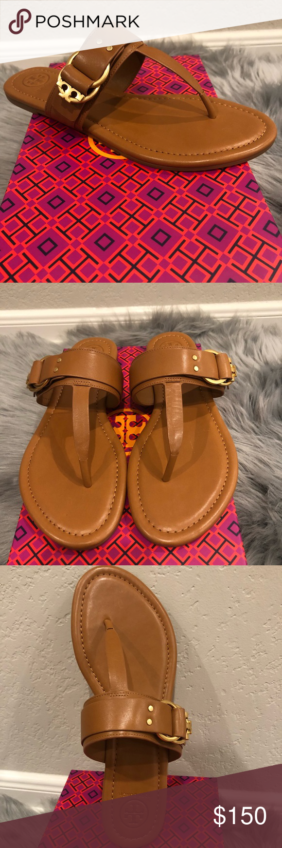 302efd4b42ab Tory Burch Marsden Sandals 👡 Double-ring T logo hardware details this thong  sandal to