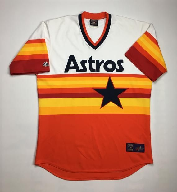 separation shoes 15947 f7813 1990s Vintage Houston Astros MLB Baseball Jersey | Majestic ...