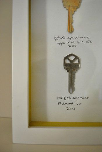 Framing keys from all the places you've lived.. adorable.