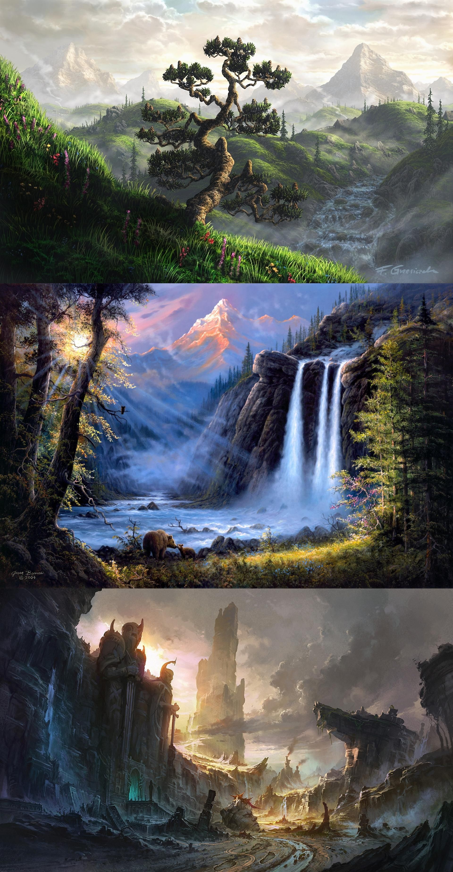 Art, Fel X, Landscape, Mountains, Flowers, Waterfall, River, Fog, Clouds, House,