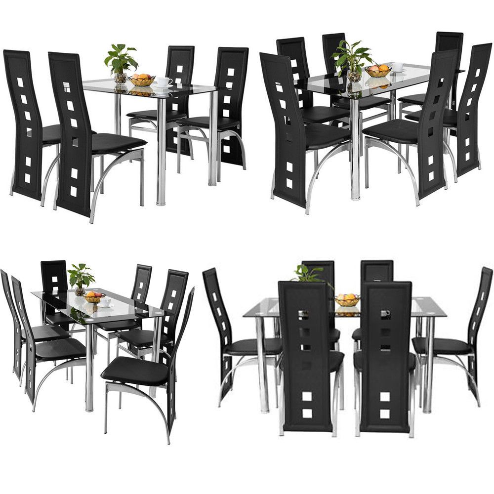 Black Glass Dining Room Table Set and with 9 or 9 Faux Leather ...