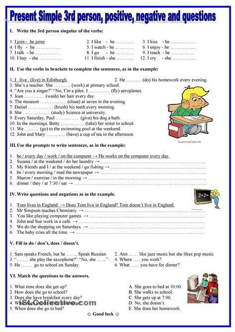 Present simple- 3rd person,positive, negative,questions | Practice ...