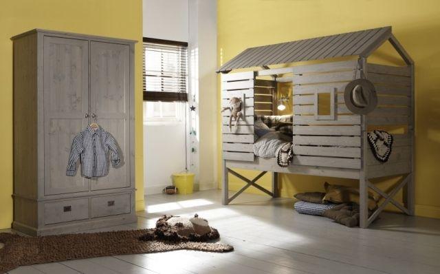 Kinderzimmermöbel holz  Hochbett für Kinderzimmer-holz-Spielhaus-Wandfarbe gesättigt Gelb ...