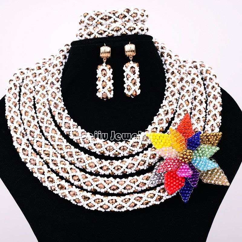 African Beads Jewelry Sets 4 layers Seed bead with Crystal bead ...