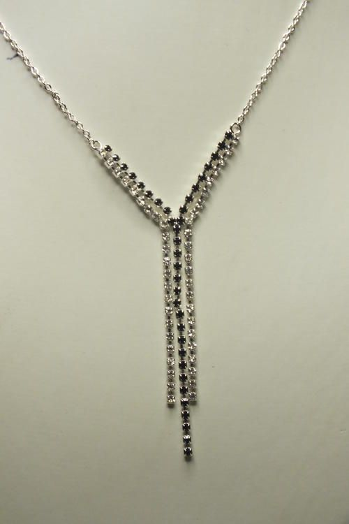 Buy Necklace Silver Colored Multi Chained Two color 4 Chained Pendant 35cm with Set Earringsfor R65.00