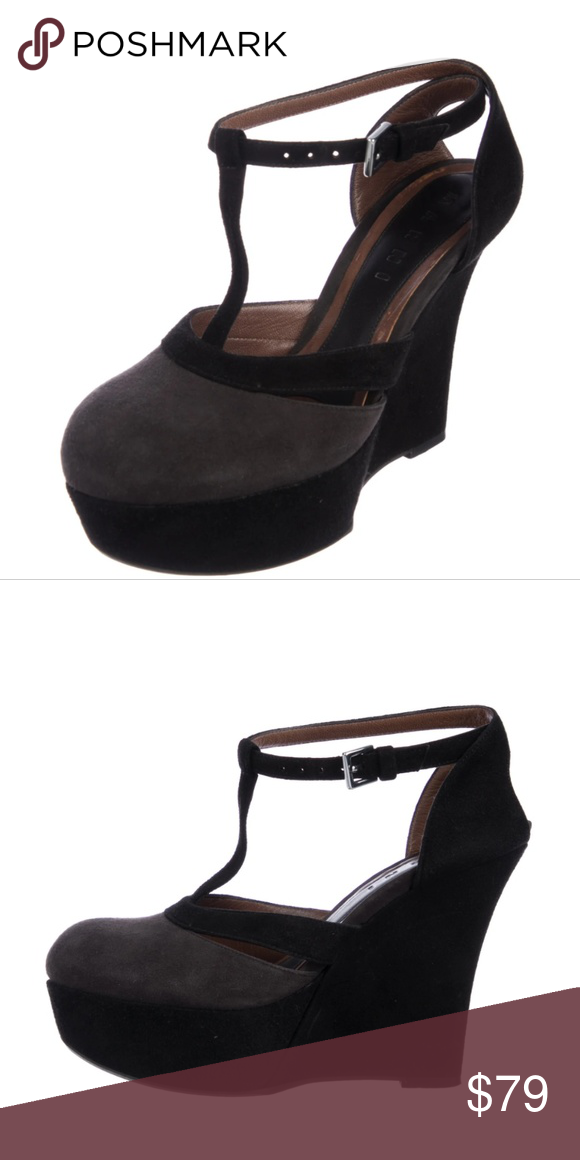 784be499398 Marni Suede Colorblock T-strap Wedge Heels 40 9 Beautiful preloved  condition - 2