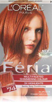L Oreal Paris Feria Hair Color 74 Deep Copper Copper Shimmer Hair