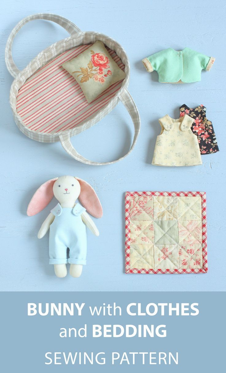 2 PDF: Mini Bunny with Set of Clothes + Basket with Bedding Sewing Pattern — DIY Animal Stuffed Doll, Soft Toy, Dress up Doll, Rabbit Doll
