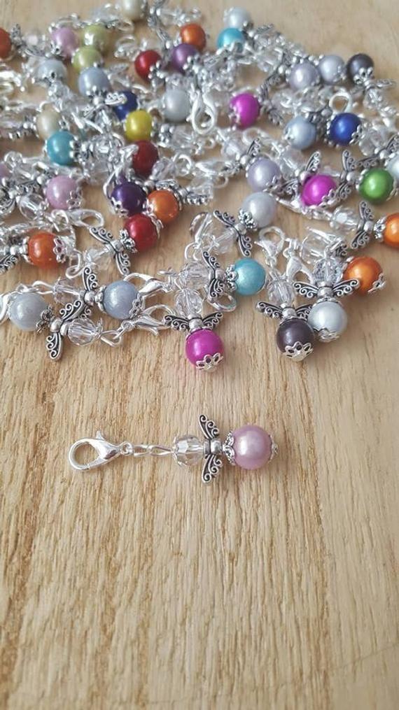 50 x MINI colgante regalo de invitado ángel bautismo boda comunión ángel guardián brillantemente amuleto de la suerte