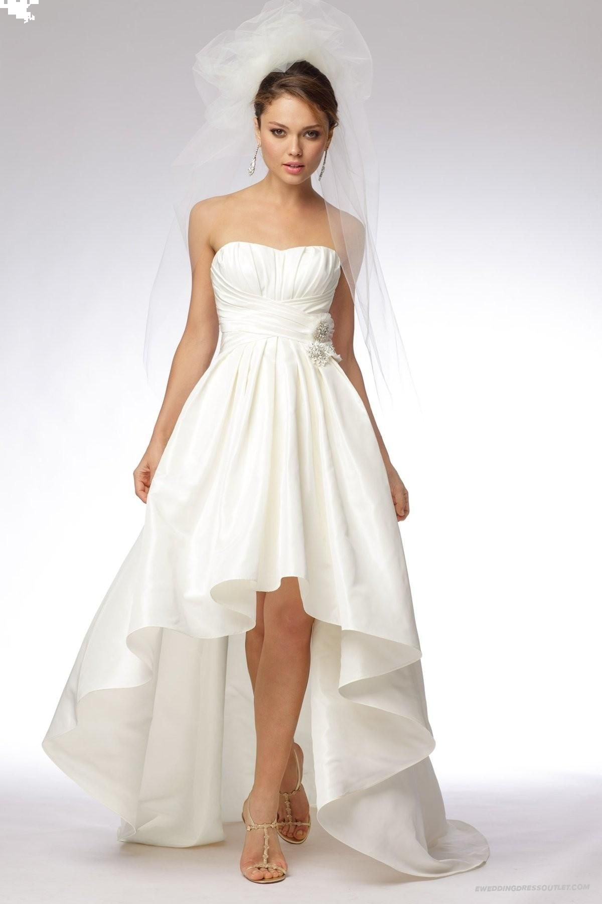 Vintage taffeta strapless softly curved neckline highlow ball gown
