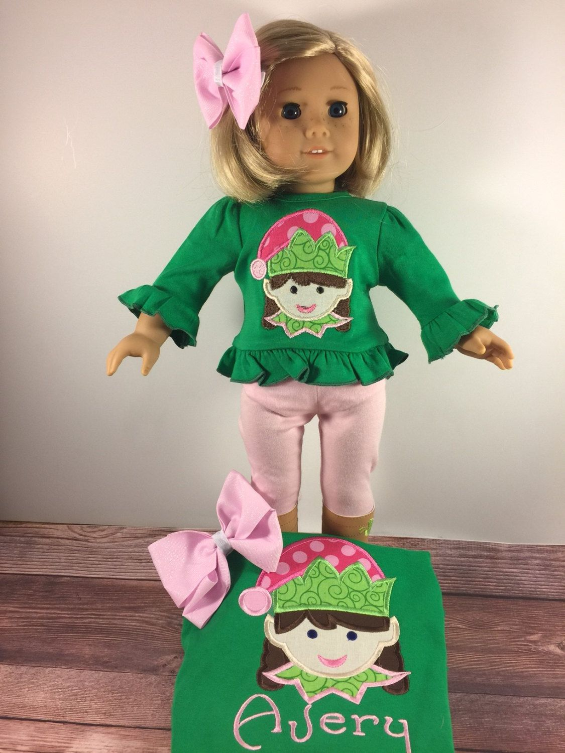 Matching Girl Doll Shirts;Girls Christmas Shirt;Girl And Doll;Dollie And Me;Made To Match;Girl Elf Shirt;Green Shirt;Christmas Shirts by AllAboutThemDolls on Etsy